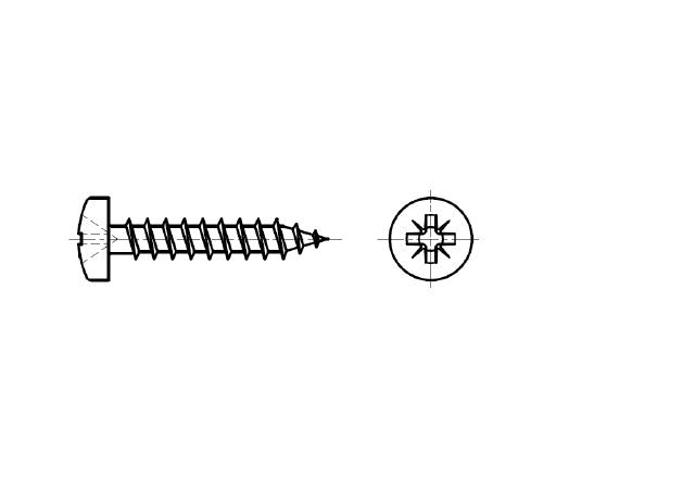 wkręt z łbem walcowym na śrubokręt krzyżakowy - AN 203
