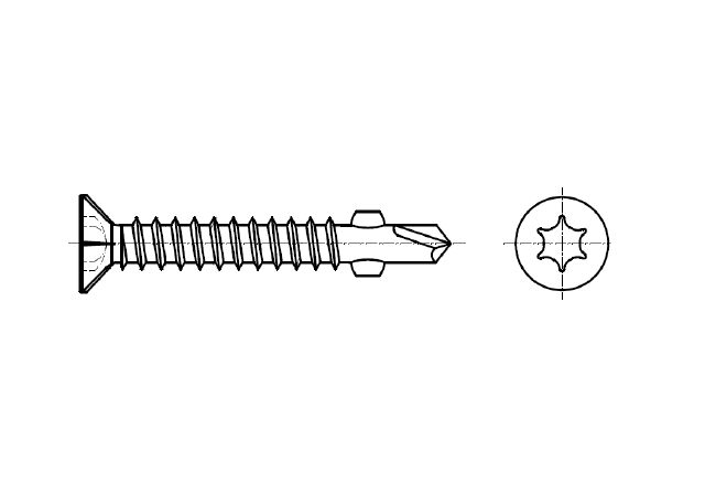 DIN 7504P-F wkręt wiercąco-frezujący z łbem stożkowym