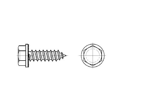 ~ISO 7053 blachowkręt z łbem sześciokątnym z podkładką ząbkowaną
