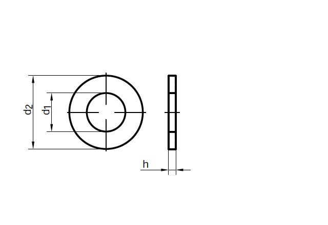 Podkładka DIN 125 - rysunek techniczny