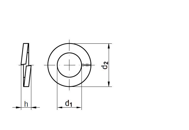 Podkładka sprężysta DIN 127 - rysunek techniczny