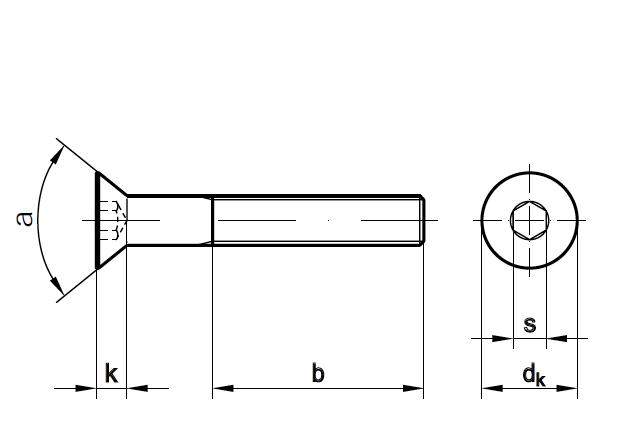 Śruba DIN 7991 - rysunek techniczny