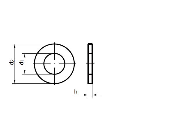 Podkładka poszerzana DIN 9021 - rysunek techniczny