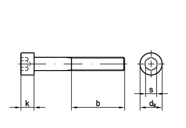 Śruba imbusowa DIN 912 - rysunek techniczny