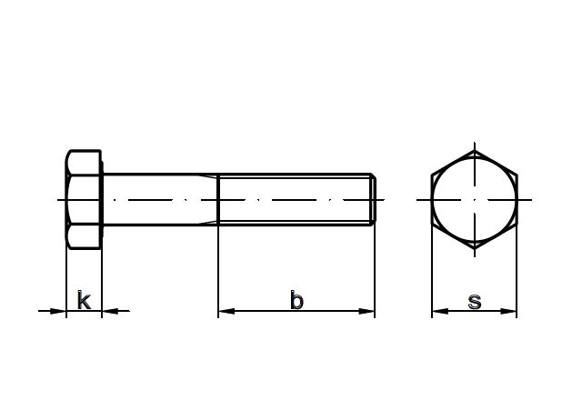 Śruba sześciokątna DIN 931 - rysunek techniczny
