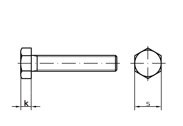 Śruba sześciokątna DIN 933 - rysunek techniczny