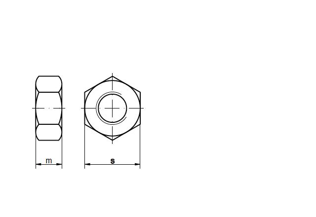 Nakrętka DIN 934 - rysunek techniczny