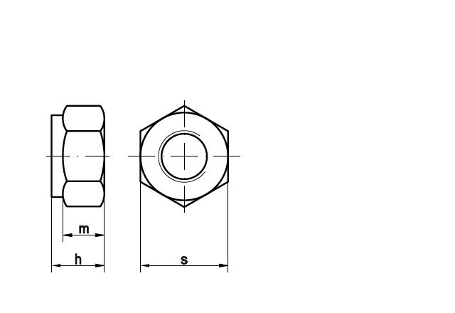 Nakrętka DIN 985 - rysunek techniczny