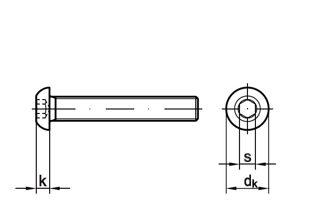 Śruba ISO 7380-1 - rysunek techniczny