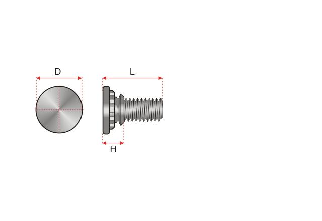 Rysunek techniczny kołek gwintowany wciskany typ FH / FHS / FH4