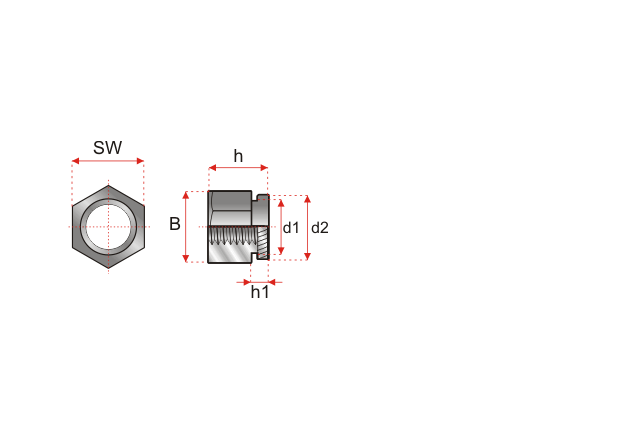 Rysunek techniczny nakrętka wciskana typ KK / KKS