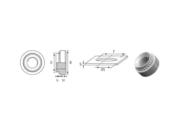 Rysunek techniczny nakrętka wciskana S / CLS / SP