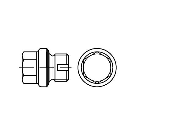 DIN 5586 Korek gwintowany z łbem sześciokątnym z nacięciem